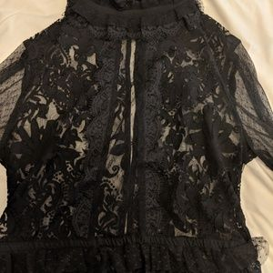 Nasty Gal Black Lace Button-up Victorian Top Mock